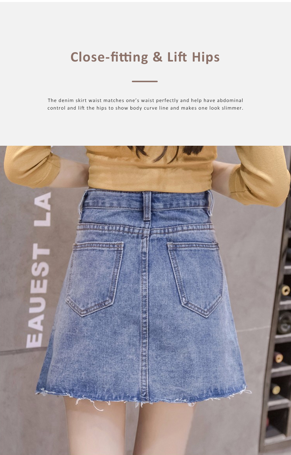 Close-fitting Irregular Denim Skirt for Women in Summer High-waisted Slimmer-looking Sheath Dress Hairy Brim Jean Midskirt Women Dress 4