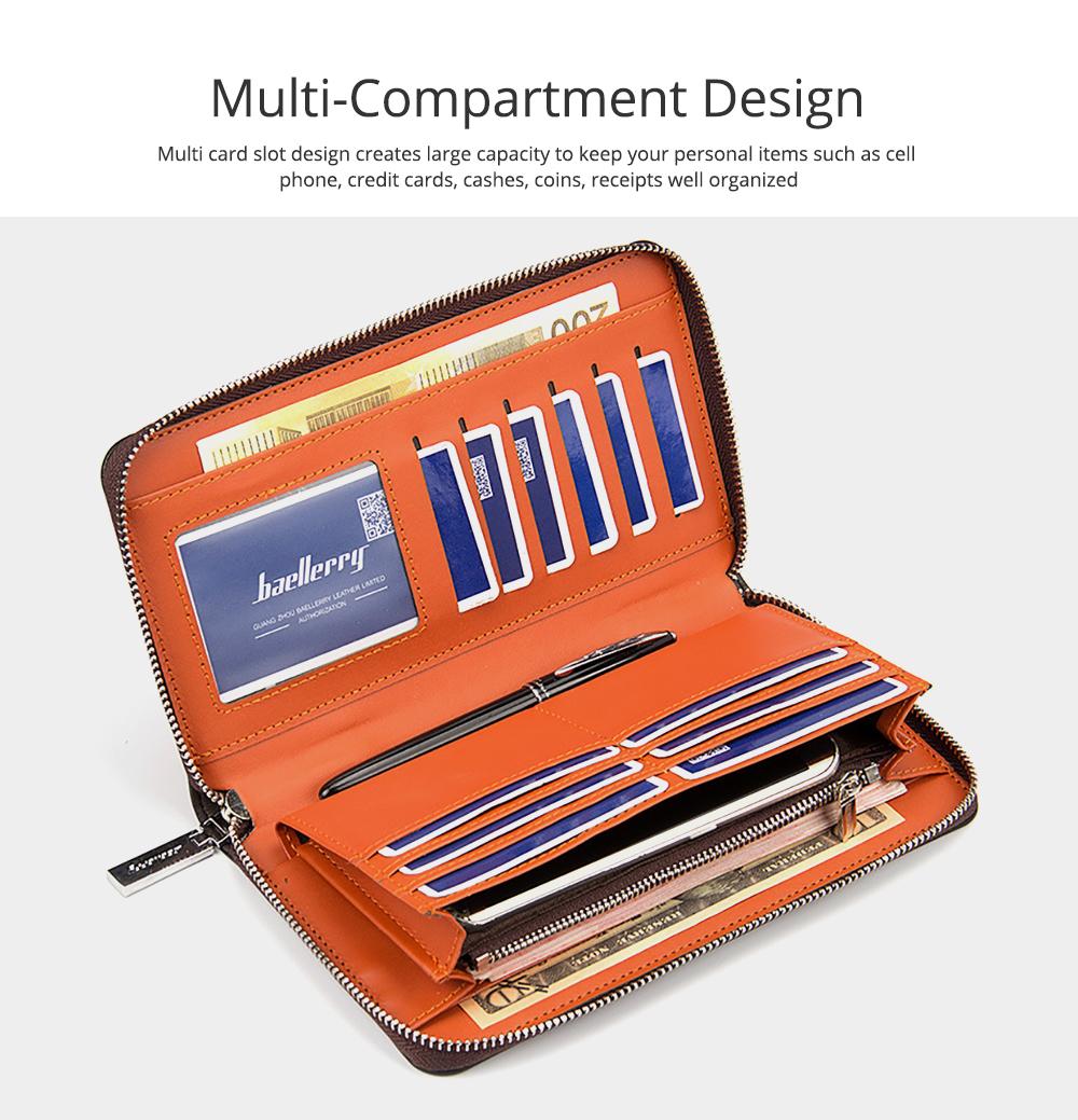 RFID Blocking Wallet Long Handbag Large Capacity PU Leather Clutch Bag Multi-Card Holder Organizer Phone Bag for Men 2