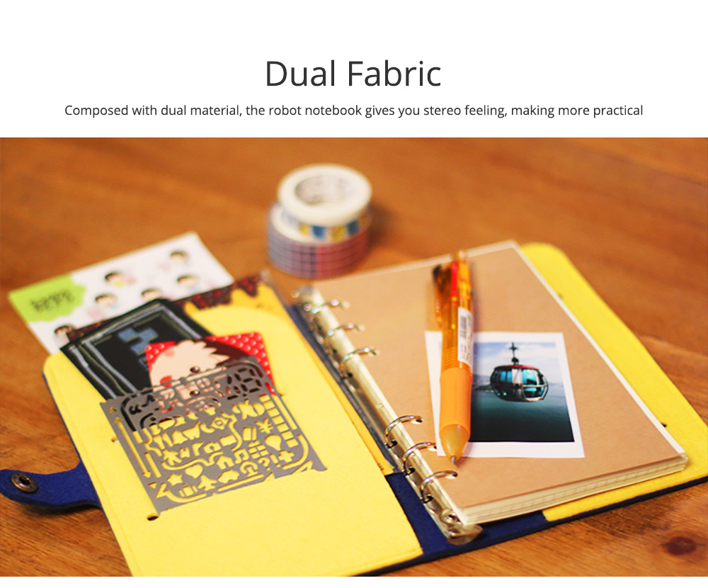 Creative Notebook with Bright Robot Design Felt Material Grid Horizontal Line for Student Kids 7