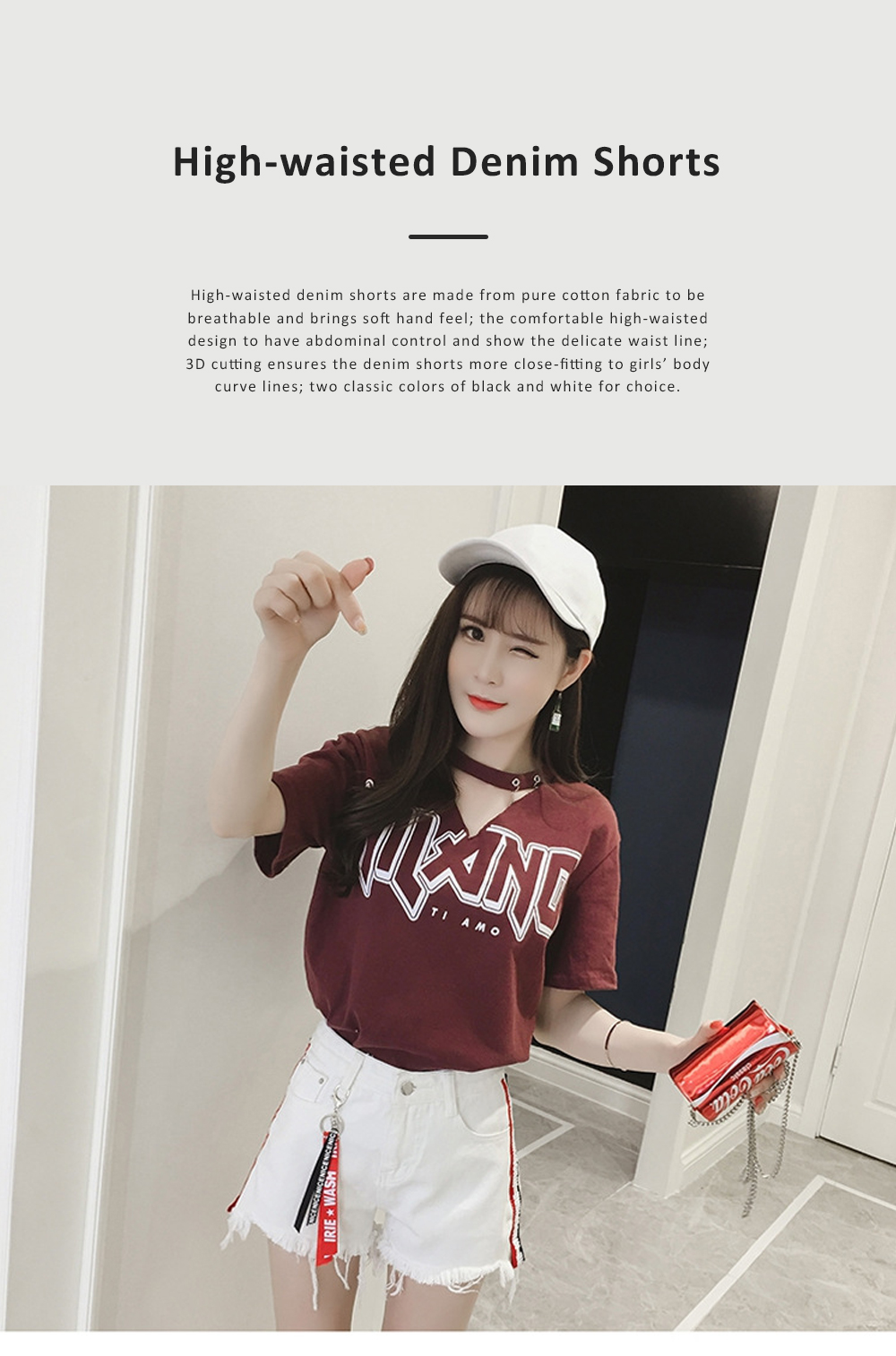 2019 High-waisted Denim Shorts Jeans Pants for Girl Students Wear Summer Loose Version Short Pants in Pure Black Color or White Color 0