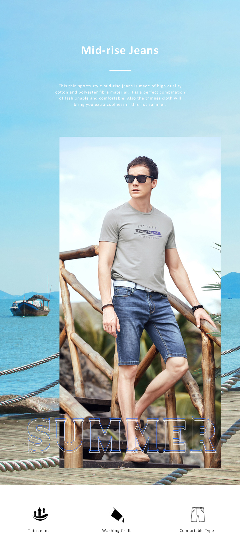 2019 New Leisure Style Loose Denim Shorts, Soft & Comfortable Thin Sports Mid-rise Jeans Pants 0
