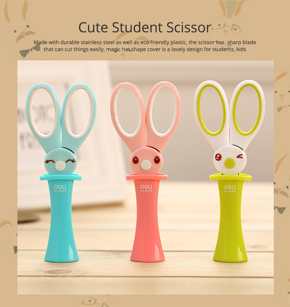 Student Scissor with Cute Rabbit Pattern Handwork Cutter with Magic Hat Shape Handle 0