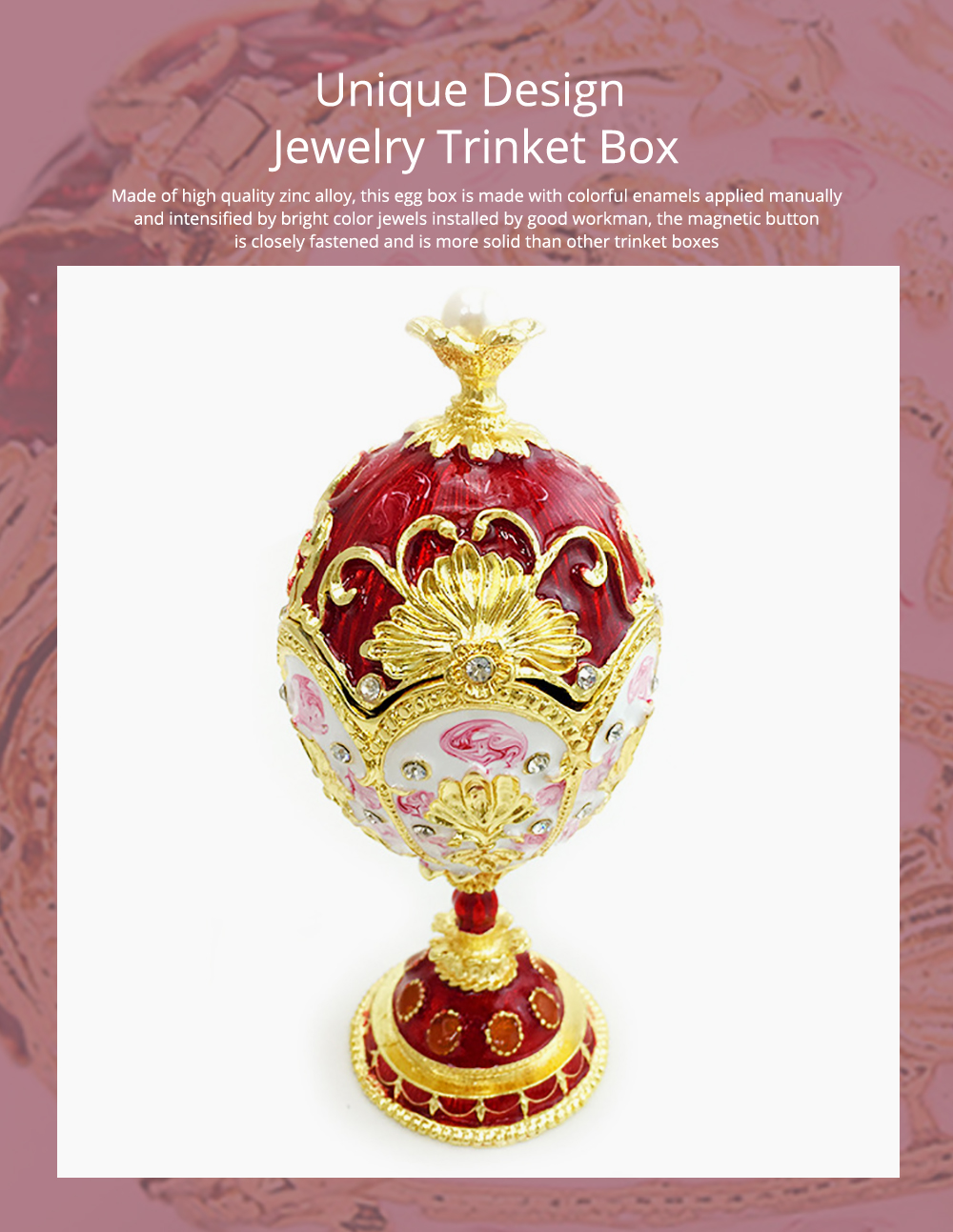 Unique Design Jewelry Trinket Box with Rich Enamel and Sparkling Rhinestones Perfect to Store Jewelry Luxurious Gift for Home Decor 0