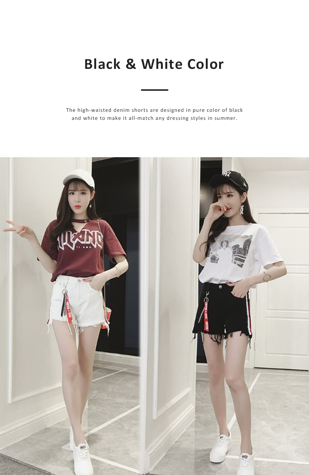 2019 High-waisted Denim Shorts Jeans Pants for Girl Students Wear Summer Loose Version Short Pants in Pure Black Color or White Color 5