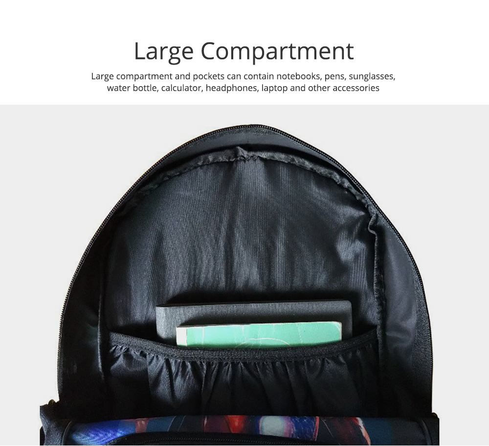 Water-Resistant School Backpack Polyester Student School Bag for Travel Outdoor Camping 2