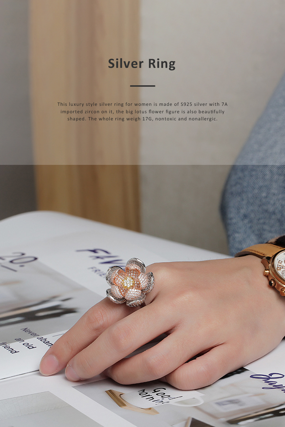 2020 Latest European Style S925 Silver Lotus Flower Ring in Vogue, Easy Matching Glittering Zircon Diamond Ring 0