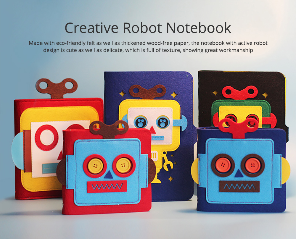Creative Notebook with Bright Robot Design Felt Material Grid Horizontal Line for Student Kids 0