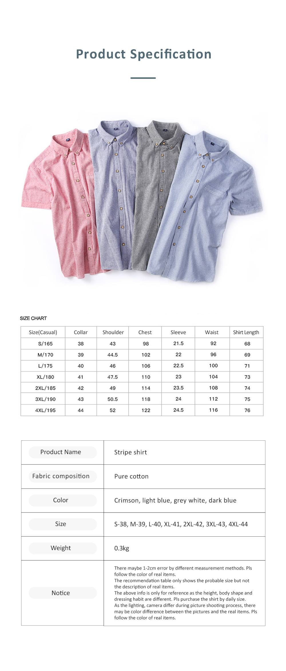Summer and Spring New Short Sleeve Man Tops Men's Clothing Pure Cotton Stripe Shirt for Men 8