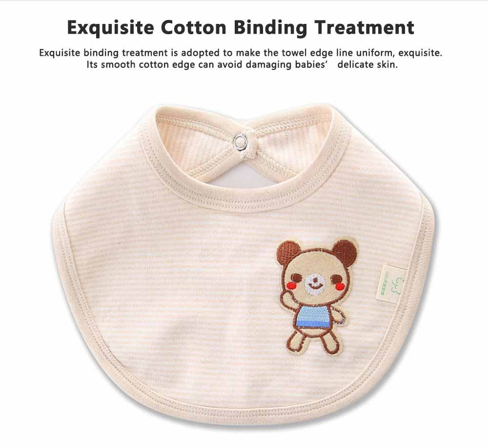 Natural Colored Cotton Baby Bibs, Luxury Smooth Bibs for New Born Infants, Creative Pinafore with A Little Bear Pattern 2