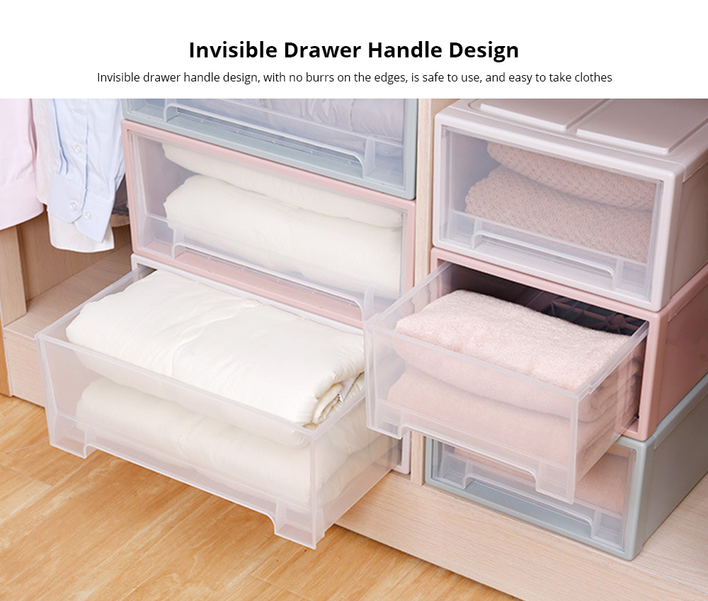 Plastic Drawer Storage Container, Storage Box, Combination Stackable Clothes Organizer, Transparent Clothing and Shoes Storage Cabinet 3
