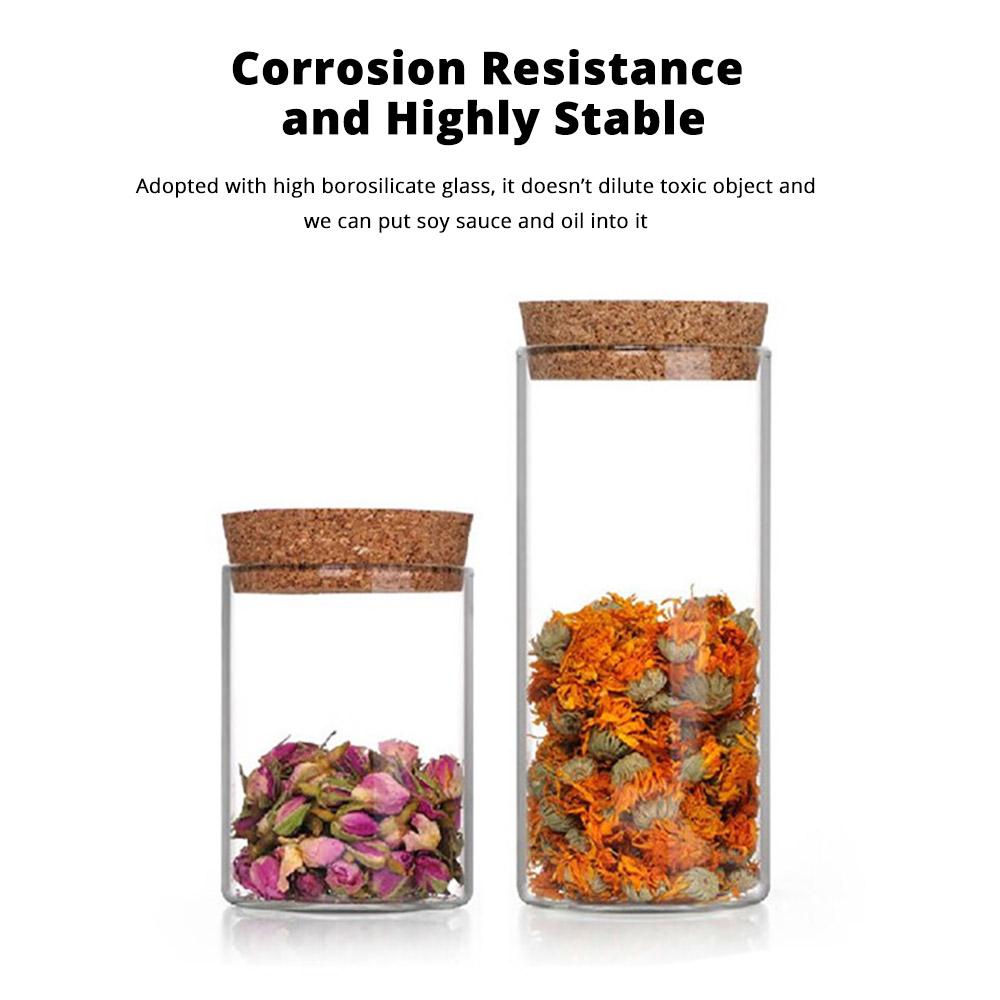 Glass Bottles Vials Jars Glass with Cork Stopper Storage Bottle Straight Tube Flowers Tea Can 3