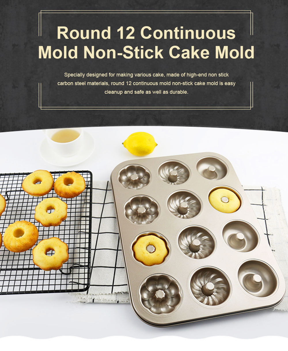 Round 12 Continuous Mold Non-Stick Household Donut Cake Mold Small Bread Baking Mold Commercial Large Baking Tray 0