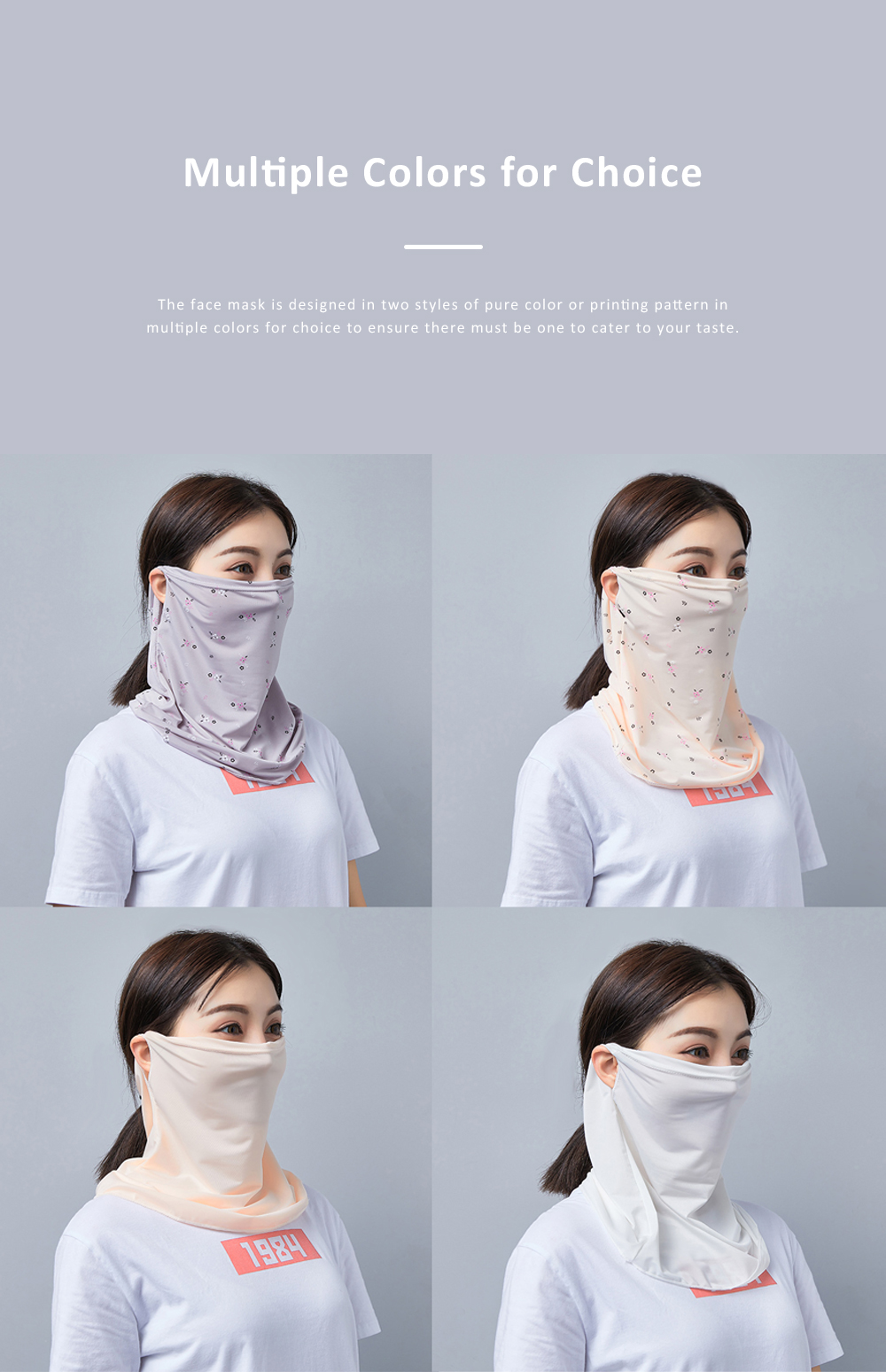 Anti-UV Ice Silk Face Mask for Women Wear in Spring Summer Ultraviolet Proof Cold Feeling Face Guard for Riding Outdoor 4