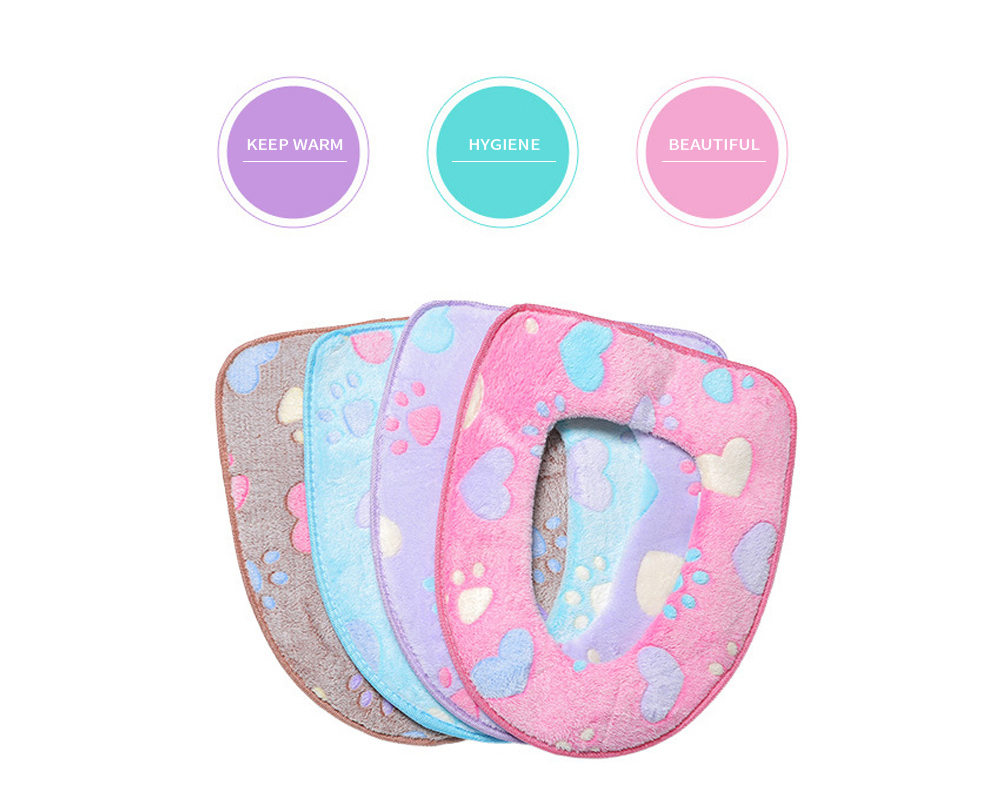 Winter Warmer Thicken Sticky Fuzzy Cat Claws Toilet Seat Cover, Coral Velvet and PVC,Free stick Toilet Seat Cover Wholesale 1