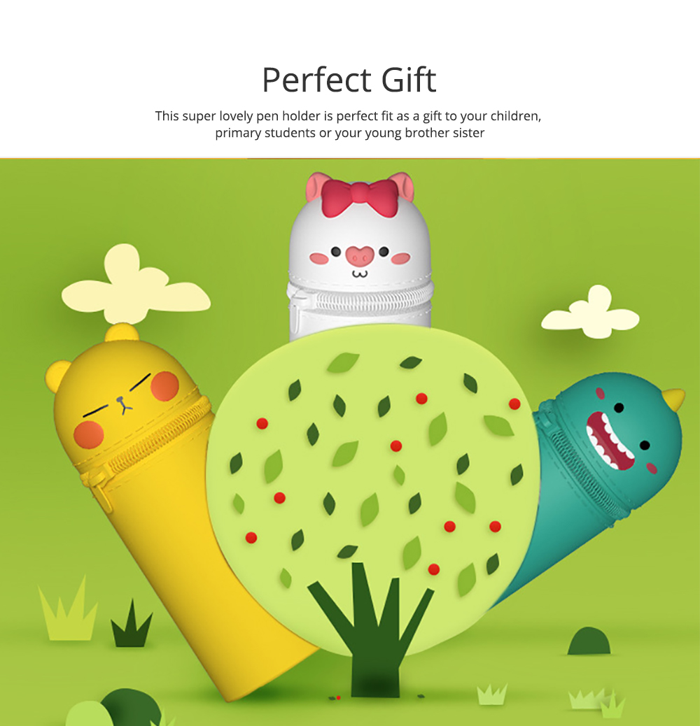 Pencil Case 3D Silicone Cartoon Storage Box Cute with Zipper Portable Hand-held  Stationery Box 5