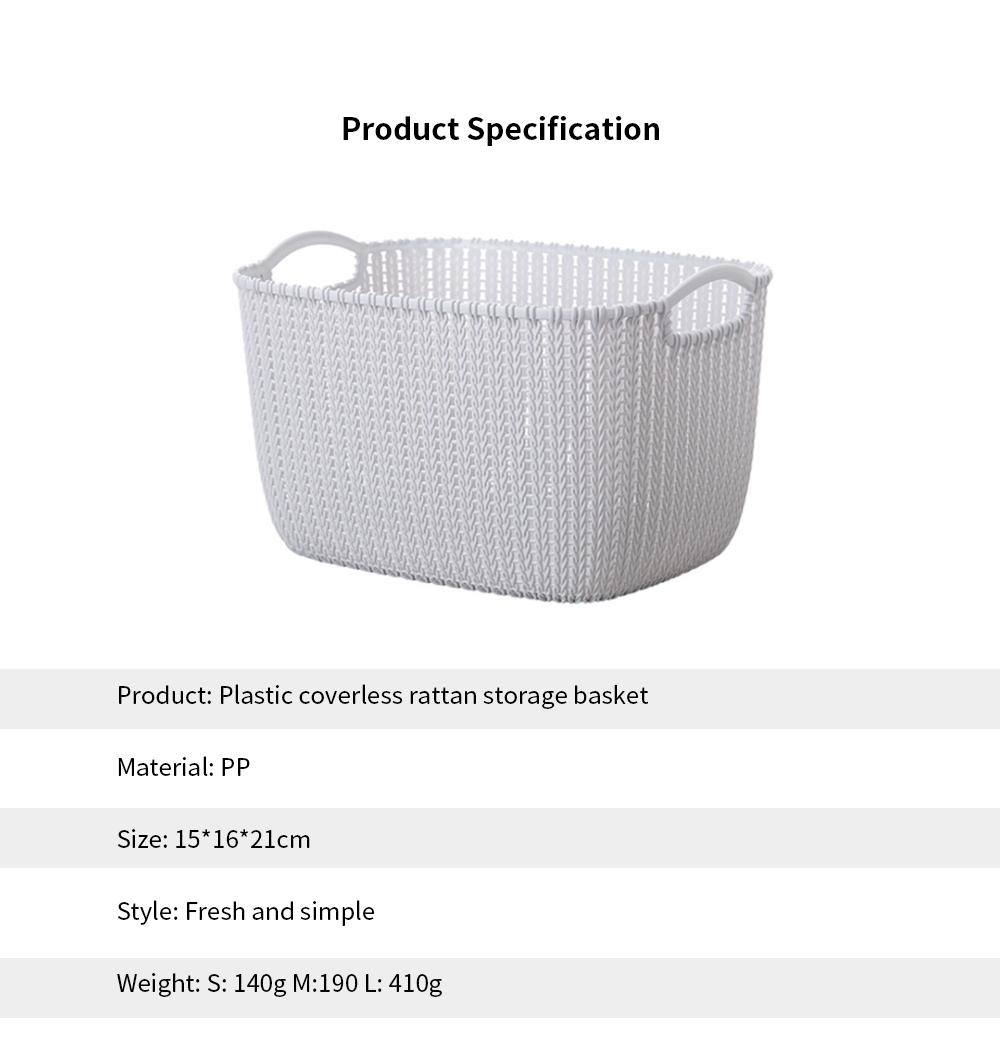 Plastic Coverless Rattan Storage Basket, Desktop Sundries Storage Box, Bathroom Cosmetics Storage Container 6