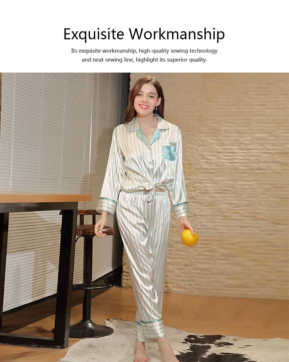 Imitation Silk Fabric Long-sleeved Pajamas set, Classic Lapel Fashion Casual Striped Tracksuit, Spring and Autumn 2019 1