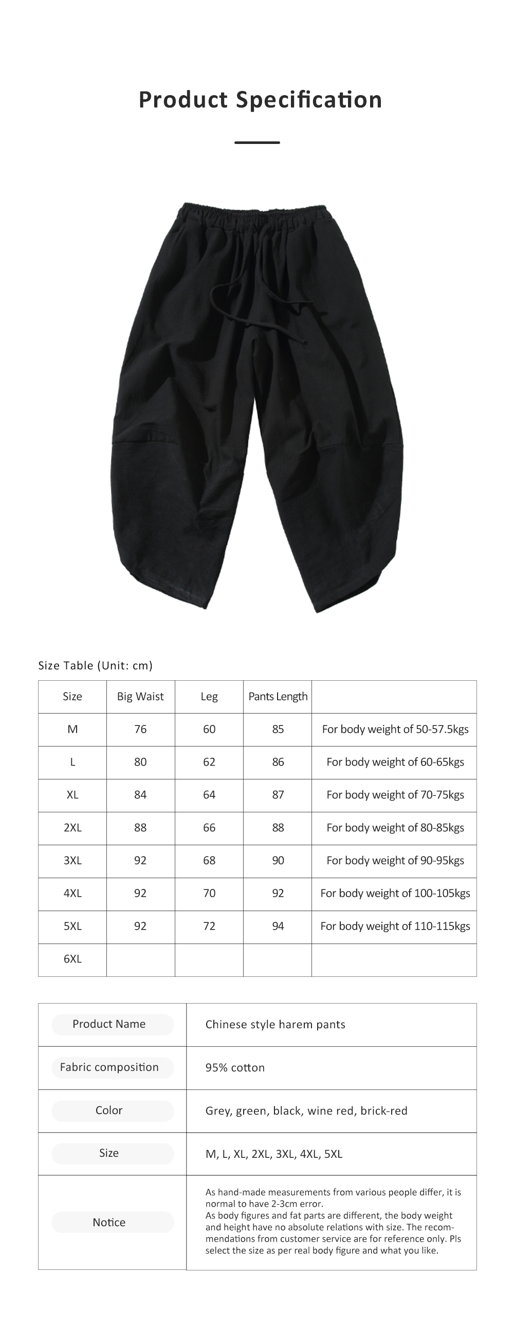 Mid-rise Loose Version Hip Pants Large Size Cropped Trousers for Men Wear Summer Casual Stylish Loose Pants 6