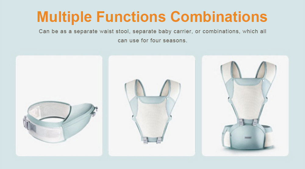 3 in 1 Toddler Waist Stool Baby Carrier, Multiple Functions Infant Breathable Child Stool Hold Infant and Toddler Product Suitable for All Seasons 8