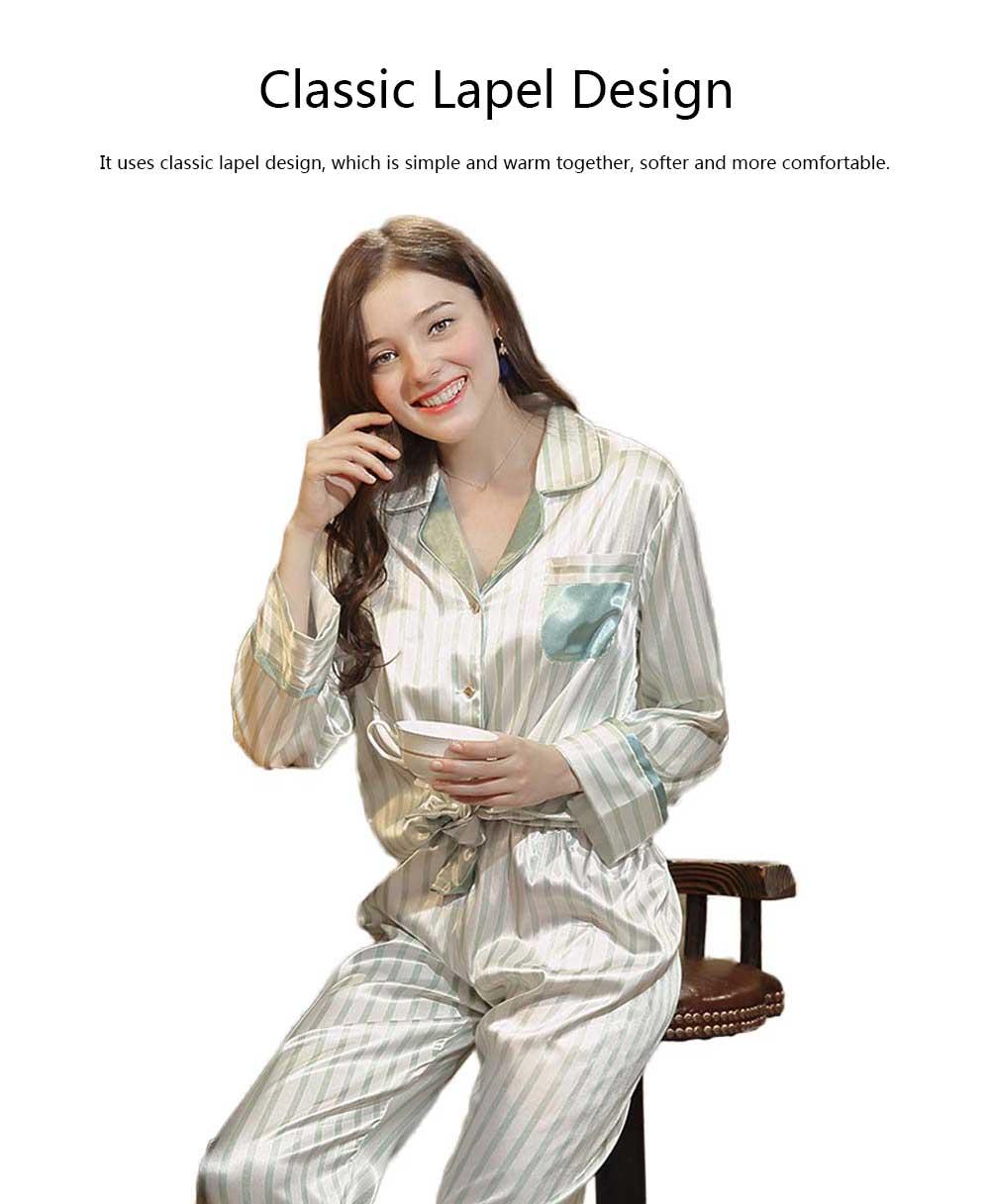 Imitation Silk Fabric Long-sleeved Pajamas set, Classic Lapel Fashion Casual Striped Tracksuit, Spring and Autumn 2019 5