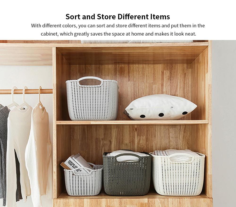 Plastic Coverless Rattan Storage Basket, Desktop Sundries Storage Box, Bathroom Cosmetics Storage Container 3