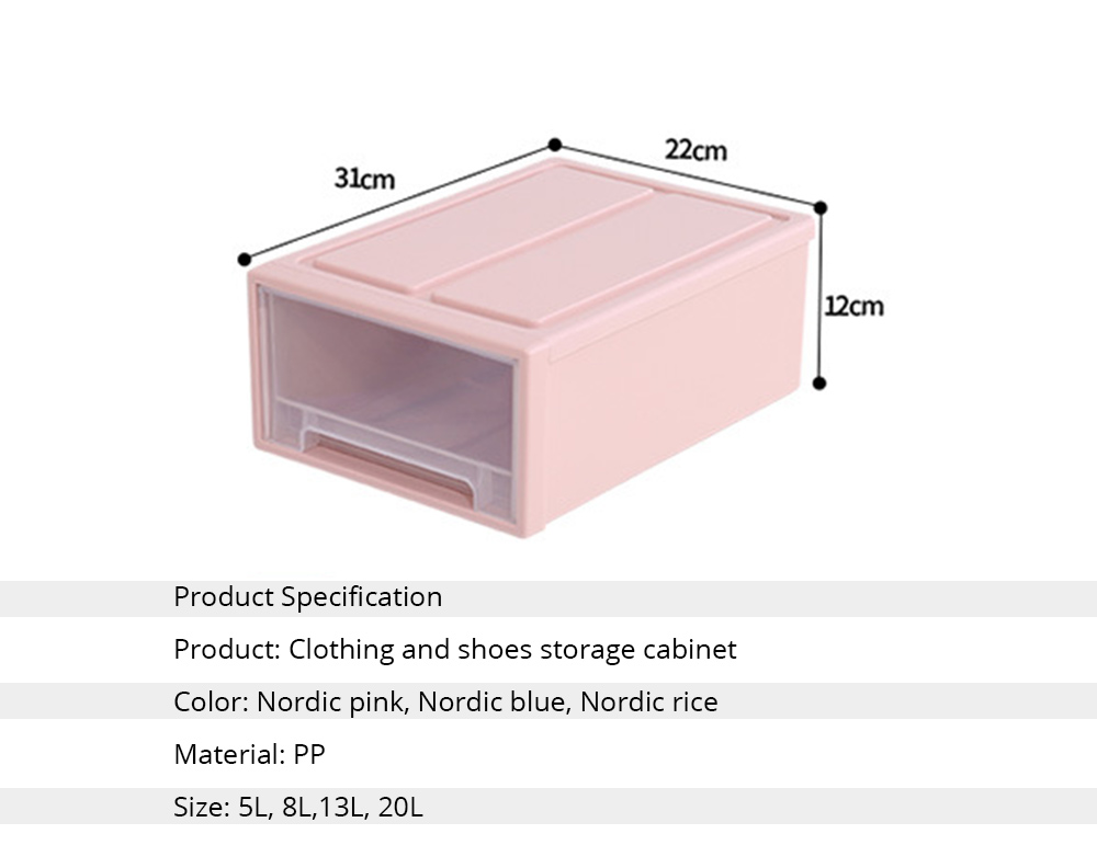 Plastic Drawer Storage Container, Storage Box, Combination Stackable Clothes Organizer, Transparent Clothing and Shoes Storage Cabinet 6