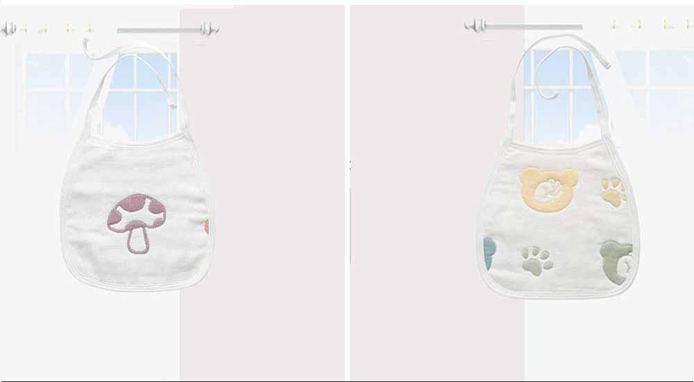 Cartoon Printing Cotton Gauze Baby Bib, Boys Girls Feeding Burp Cloths, Comfortable Newborn Infants Scarf Towel with Lace 7