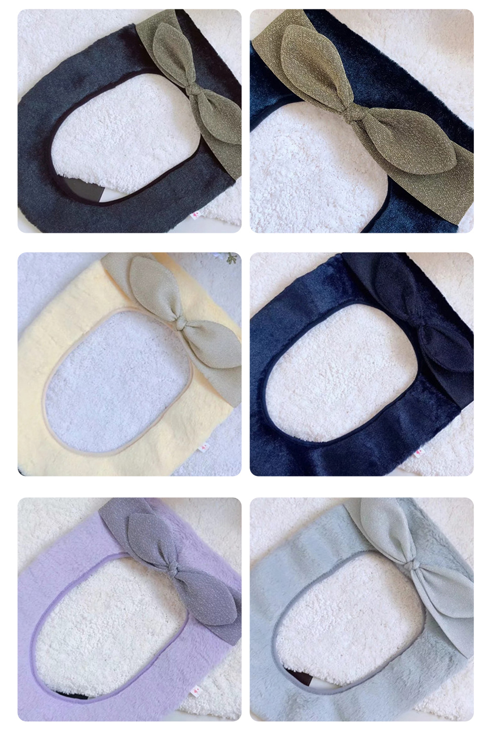 2019 Autumn and Winter Warmer Thicker Fuzzy Pretty Bowtie and Bright Velvet Toilet Seat Cover withToilet Hoist 7