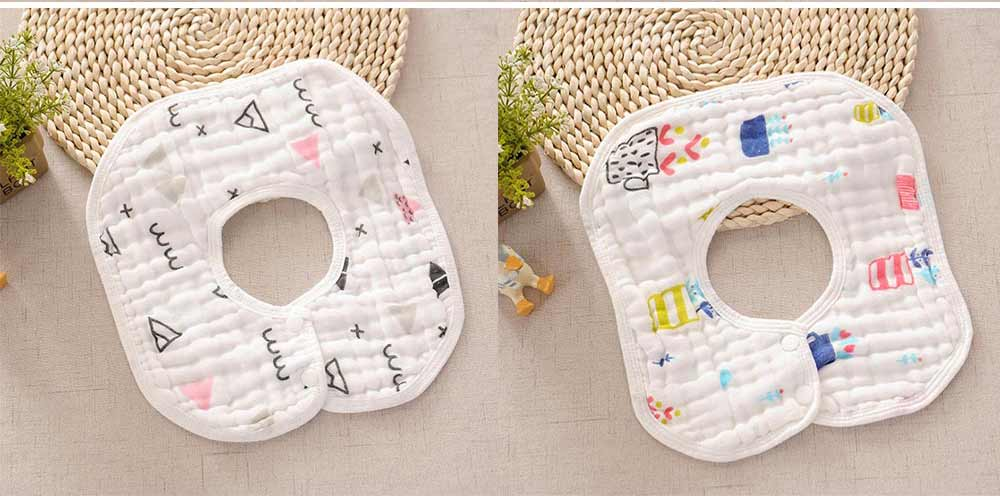 8 Layers Combed Baby Gauze Cotton Bibs, 360 Rotation Luxury Soft Cotton Bibs for Infants, Cartoon Print Newborn Babies Bibs 6