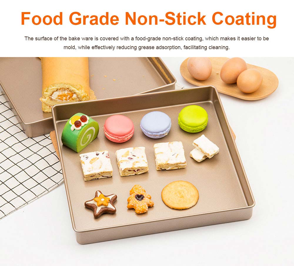 Golden 11x11inches Square Non-stick Bake Ware Cake Mould Biscuit Nougat Bake Ware, Cookie Sheet Baking Tray 3