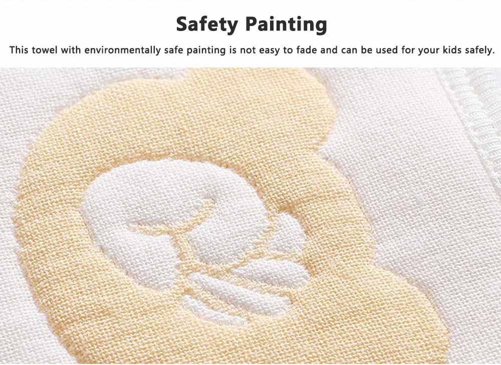 Cartoon Printing Cotton Gauze Baby Bib, Boys Girls Feeding Burp Cloths, Comfortable Newborn Infants Scarf Towel with Lace 4