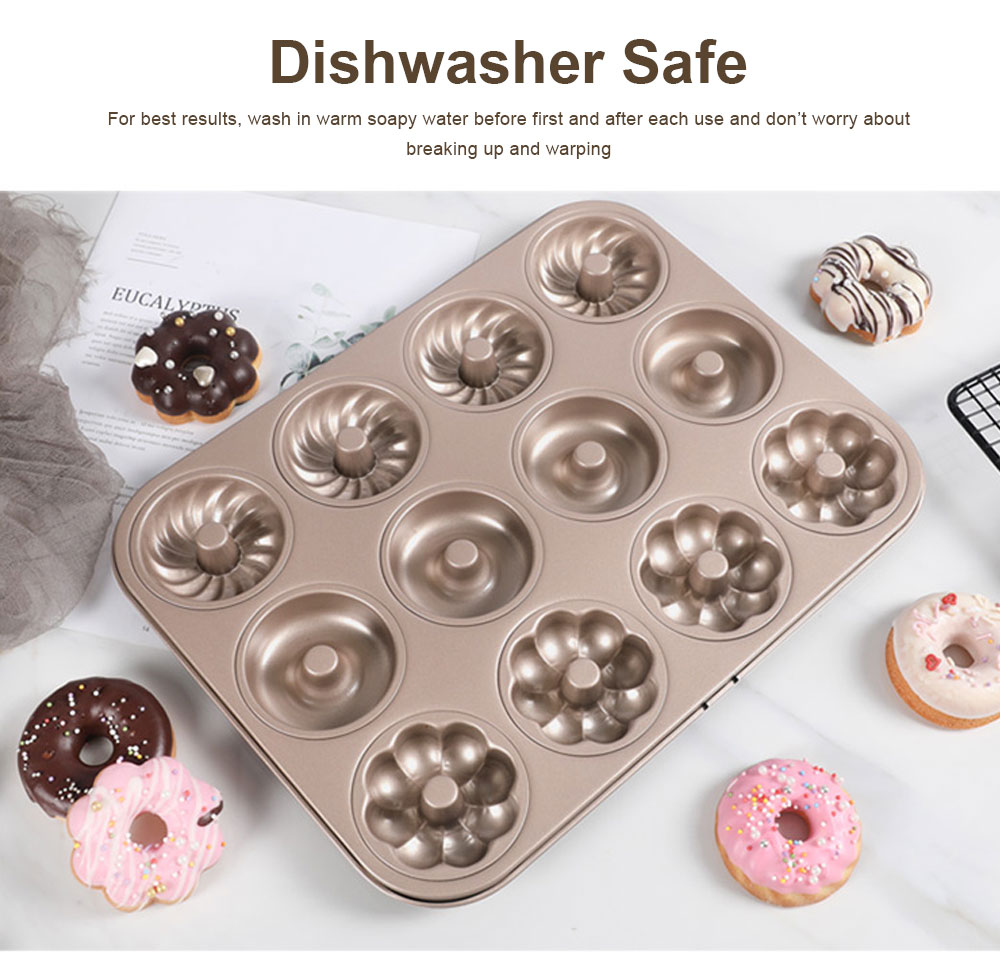 Round 12 Continuous Mold Non-Stick Household Donut Cake Mold Small Bread Baking Mold Commercial Large Baking Tray 3