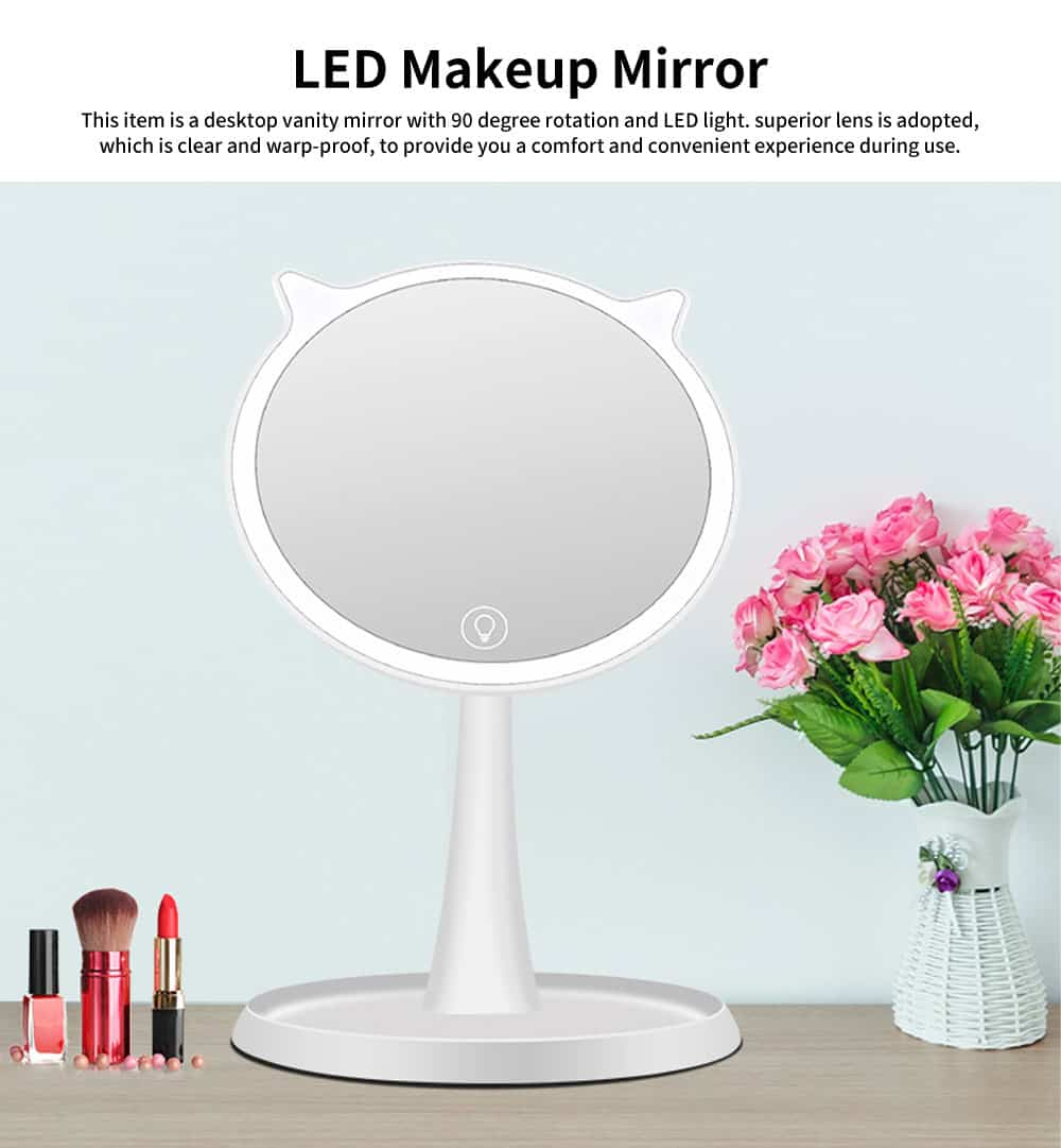 LED Makeup Mirror, Cat Cosmetic Mirror, Adjustable USB Charger Mirror, One-Sided Rectangle Mirror, Portable Desk Mirror for Make Up 0