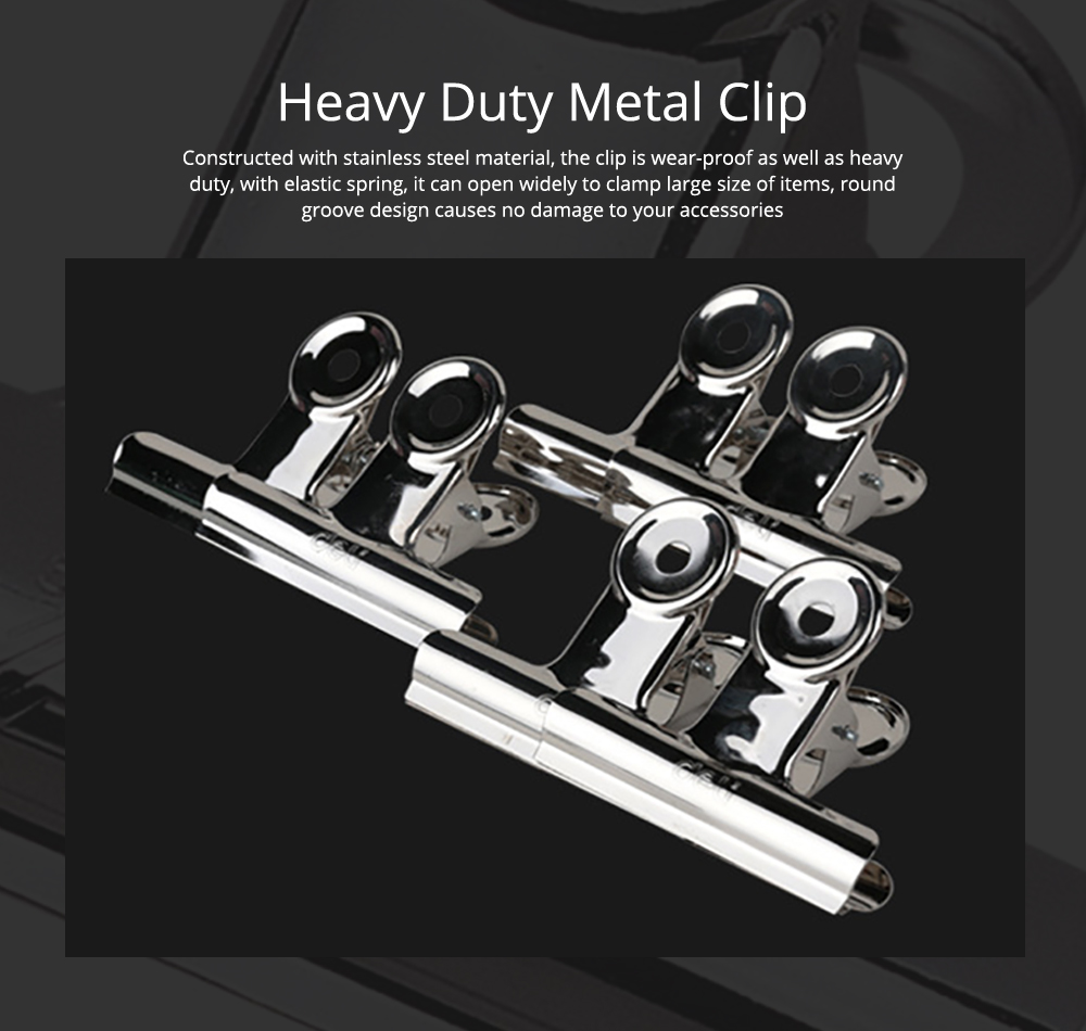 All-Purpose Heavy Duty Stainless Steel Metal Clip Holder with Strong Elastic Spring for Food 0