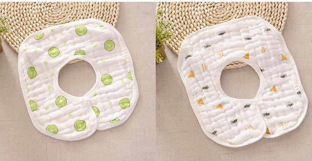 8 Layers Combed Baby Gauze Cotton Bibs, 360 Rotation Luxury Soft Cotton Bibs for Infants, Cartoon Print Newborn Babies Bibs 7