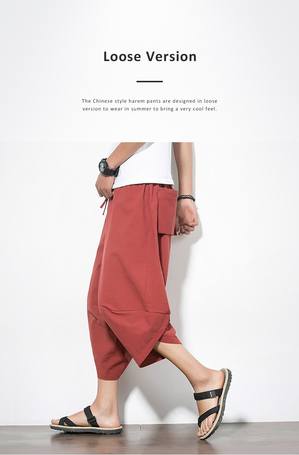 Mid-rise Loose Version Hip Pants Large Size Cropped Trousers for Men Wear Summer Casual Stylish Loose Pants 4