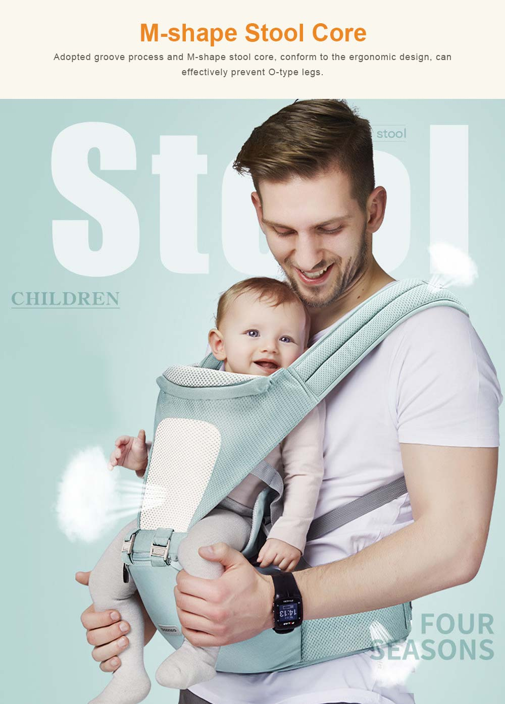3 in 1 Toddler Waist Stool Baby Carrier, Multiple Functions Infant Breathable Child Stool Hold Infant and Toddler Product Suitable for All Seasons 2