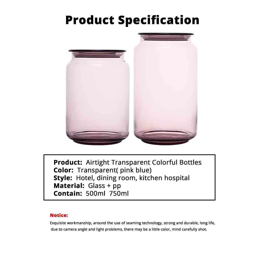Airtight Glass Bottles Transparent Colorful Jars for Storage Tea, Dried Fruit Organizer, Universal Kitchen Storage 6