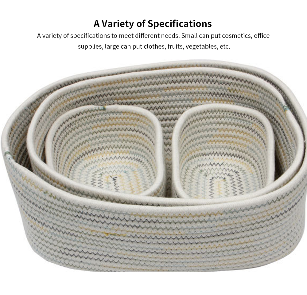 Simple Modern Small Fresh Colorful Rope Cotton Rope Fabric Storage Box, Desktop Sundries Storage Basket, Household Finishing Basket 4