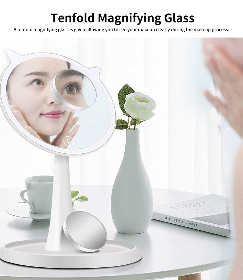 LED Makeup Mirror, Cat Cosmetic Mirror, Adjustable USB Charger Mirror, One-Sided Rectangle Mirror, Portable Desk Mirror for Make Up 5