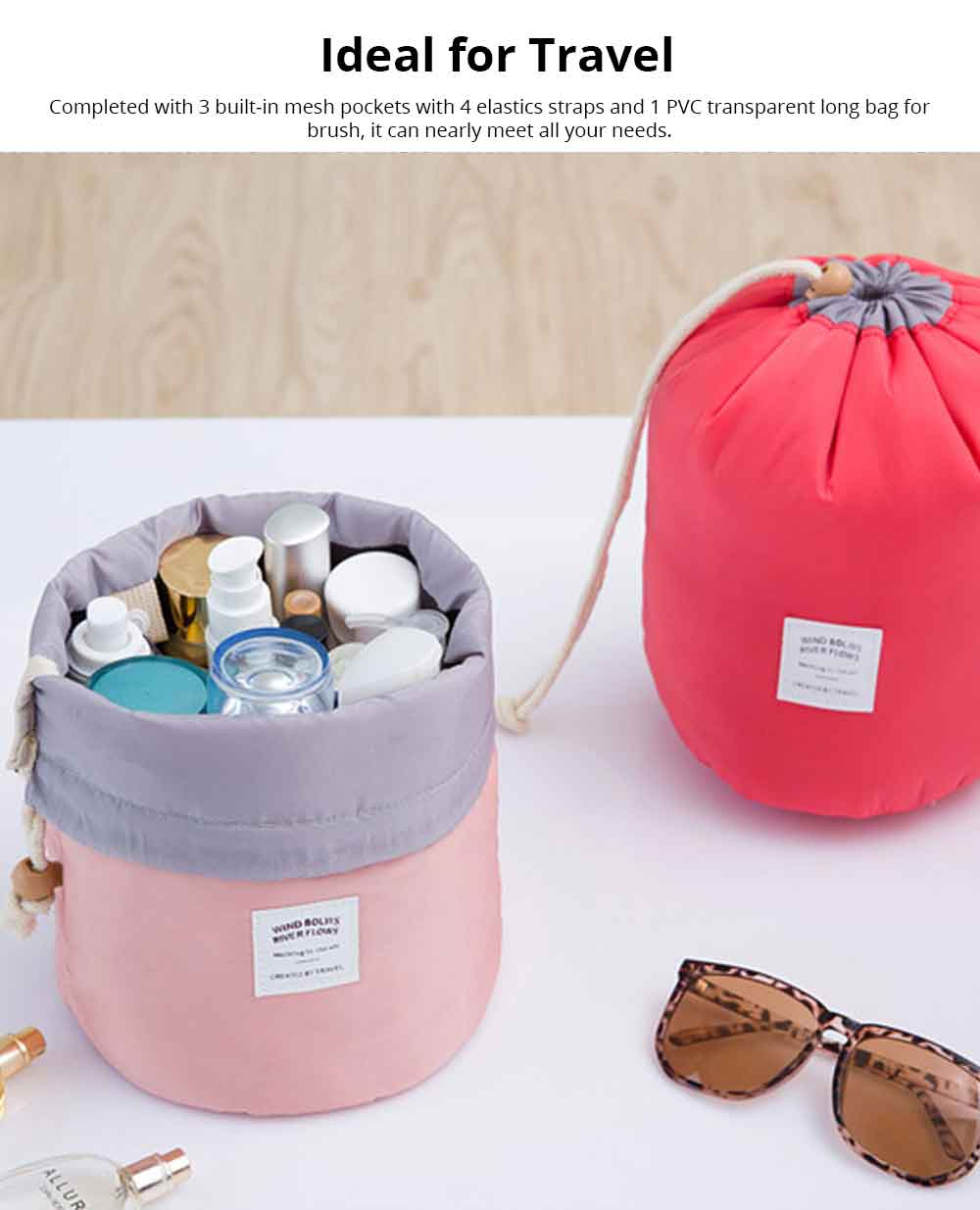 Cylinder Wash Make-up Bag, Large-capacity Girls Pull Rope Nylon Waterproof Travel Bag for Traveling Business Trip 5