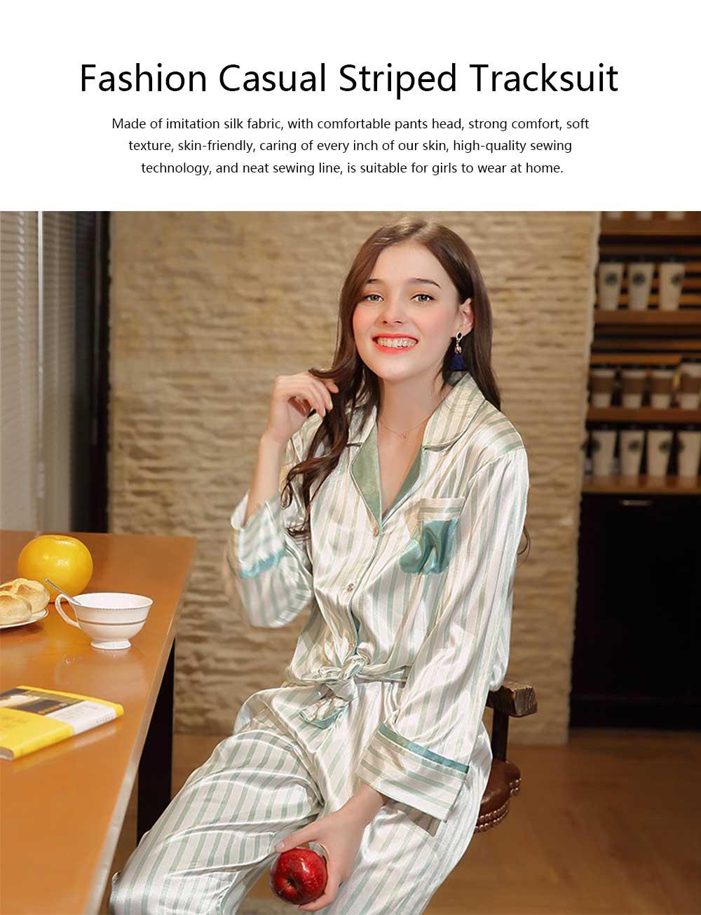Imitation Silk Fabric Long-sleeved Pajamas set, Classic Lapel Fashion Casual Striped Tracksuit, Spring and Autumn 2019 0