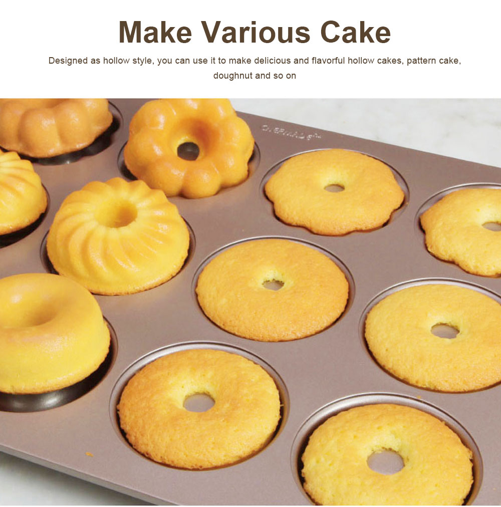 Round 12 Continuous Mold Non-Stick Household Donut Cake Mold Small Bread Baking Mold Commercial Large Baking Tray 6