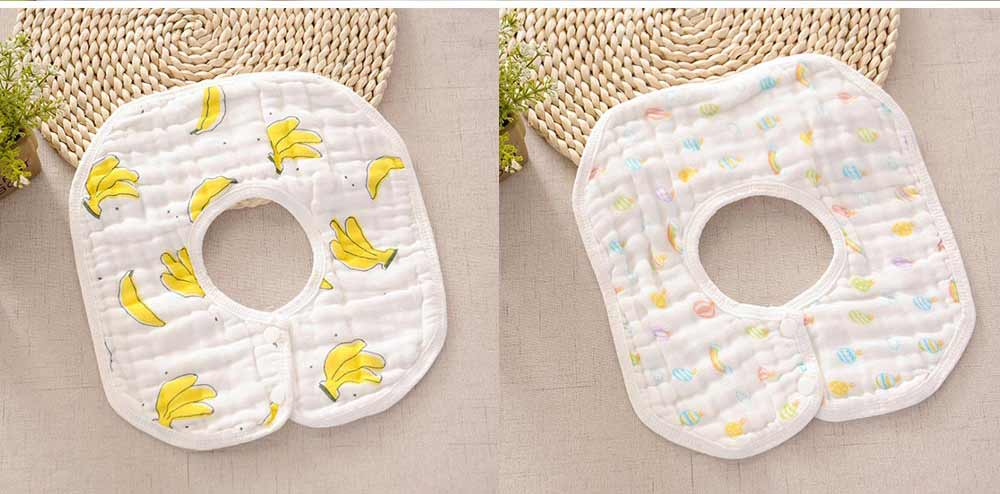 8 Layers Combed Baby Gauze Cotton Bibs, 360 Rotation Luxury Soft Cotton Bibs for Infants, Cartoon Print Newborn Babies Bibs 5