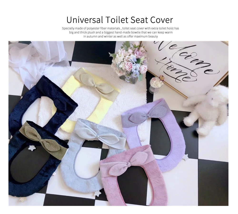 2019 Autumn and Winter Warmer Thicker Fuzzy Pretty Bowtie and Bright Velvet Toilet Seat Cover withToilet Hoist 0