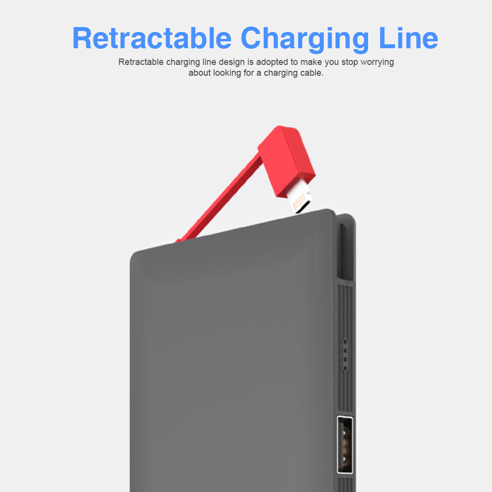 Ultra Thin 10000mAh Power Bank, Portable Fourfold USB Charge External Battery Supports, Creative Charger Baby with Retractable Data Line 1