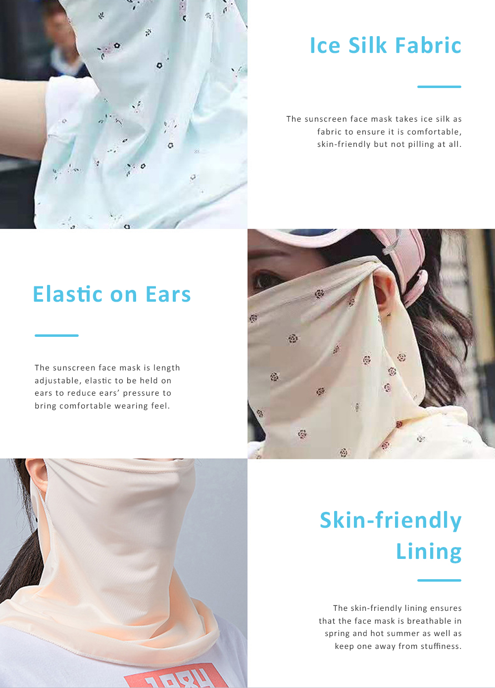 Anti-UV Ice Silk Face Mask for Women Wear in Spring Summer Ultraviolet Proof Cold Feeling Face Guard for Riding Outdoor 3