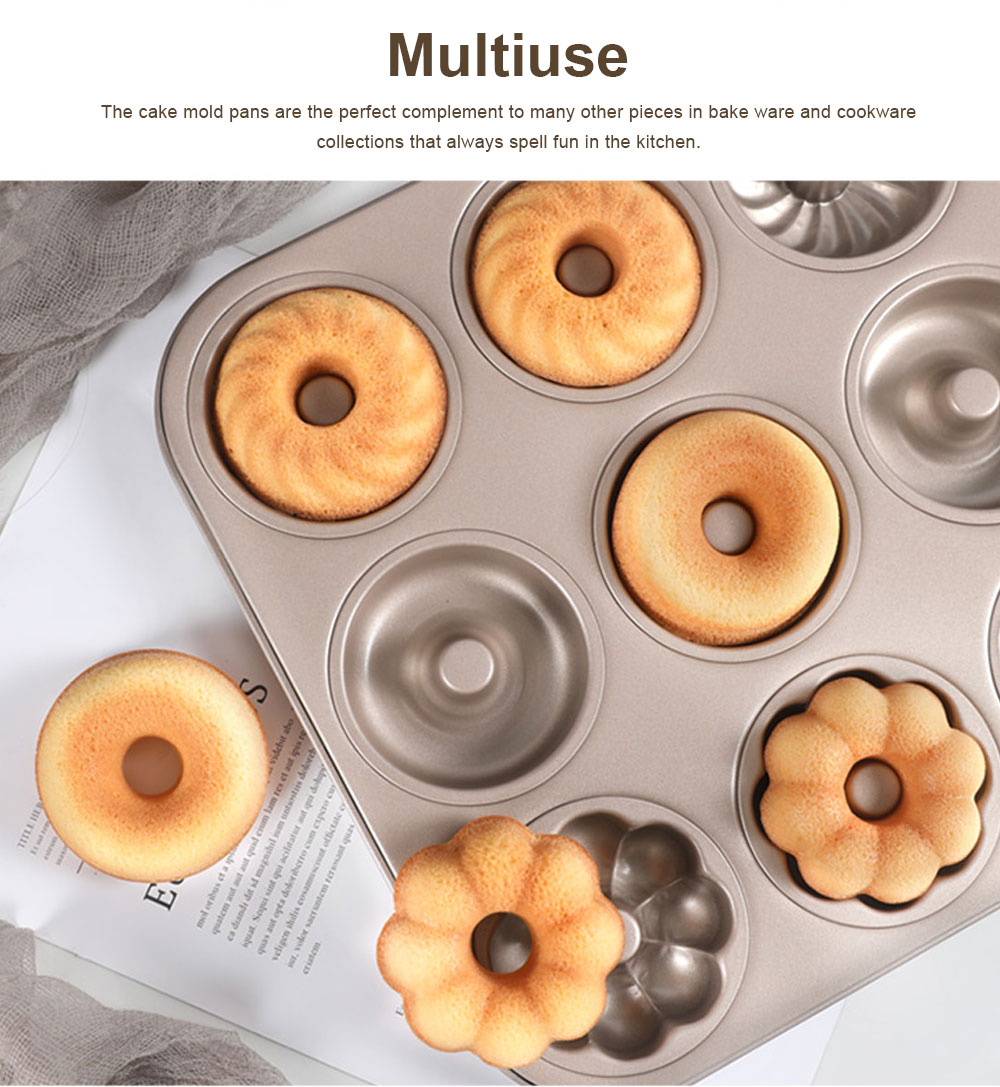 Round 12 Continuous Mold Non-Stick Household Donut Cake Mold Small Bread Baking Mold Commercial Large Baking Tray 4