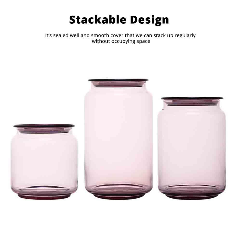 Airtight Glass Bottles Transparent Colorful Jars for Storage Tea, Dried Fruit Organizer, Universal Kitchen Storage 3