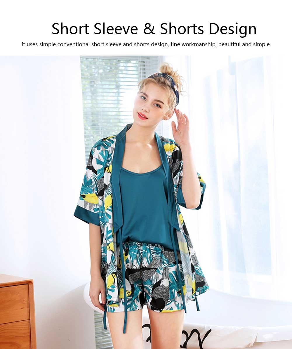Beautiful Printing Pattern Japanese Kimono Pajamas Set, Women's Sexy Sling Shorts Tracksuit, Three-piece 5